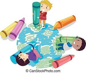 Stickman Kids Crayon Earth
