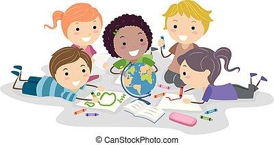 Stickman Kids Crayons Globe Illustration