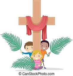 Stickman Kids Cross Holy Week Illustration