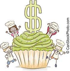 Stickman Kids Cupcake Dollar Sale Illustration