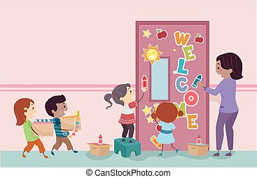 Stickman Kids Decorate Classroom Door Illustration