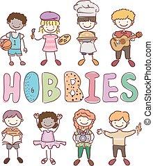 Stickman Kids Different Hobbies Illustration