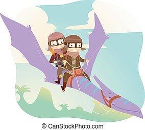 Stickman Kids Dino Ride Pterodactyl