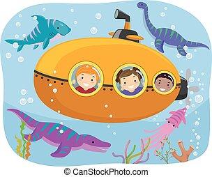 Stickman Kids Dinosaur Submarine