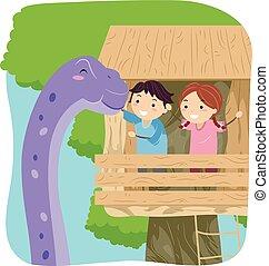 Stickman Kids Dinosaur Treehouse Brontosaurus