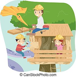 Stickman Kids Dinosaur Treehouse Dad