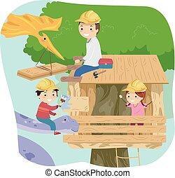 Stickman Kids Dinosaur Treehouse Dad