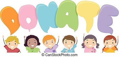 Stickman Kids Donate Speech Bubbles Illustration