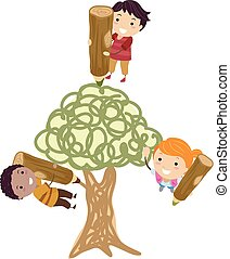 Stickman Kids Draw Tree Illustration