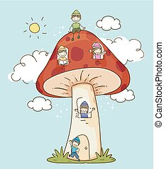 Stickman Kids Dwarves Mushroom House Illustration