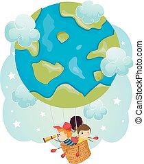 Stickman Kids Earth Air Balloon Travel