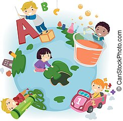 Stickman Kids Earth Education