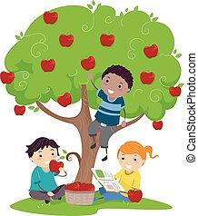 Stickman Kids Eating Apples Tree Illustration