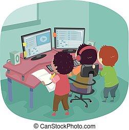 Stickman Kids Editing Video Multiple Screen