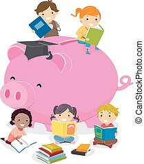 Stickman Kids Education Piggy Bank Illustration