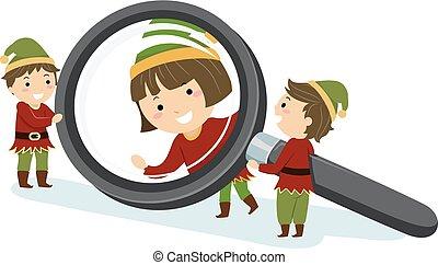 Stickman Kids Elf Magnifying Glass Illustration
