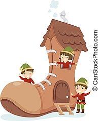Stickman Kids Elf Shoe House Illustration