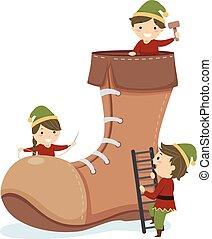 Stickman Kids Elf Shoe Illustration