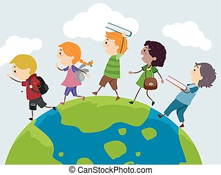 Stickman Illustration of a Group of Preschool Kids Walking on Top of a Globe