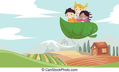 Stickman Kids Explore Farm Illustration