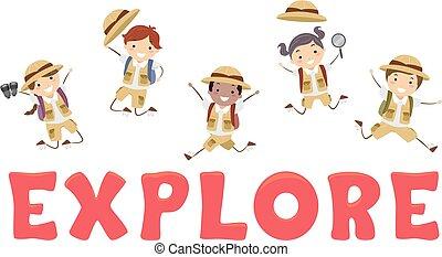 Stickman Kids Explore Lettering Illustration
