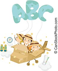 Stickman Kids Explorer Plane Illustration