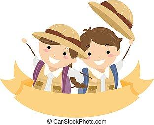 Stickman Kids Explorer Ribbon Illustration