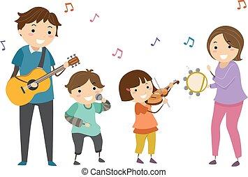 Stickman Kids Family Music Band Illustration