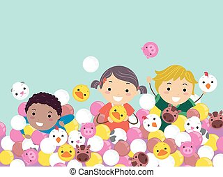 Stickman Kids Farm Animals Balls Play Illustration