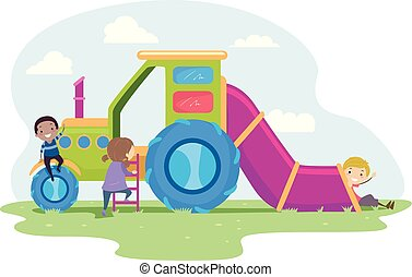 Stickman Kids Farm Truck Playground Illustration