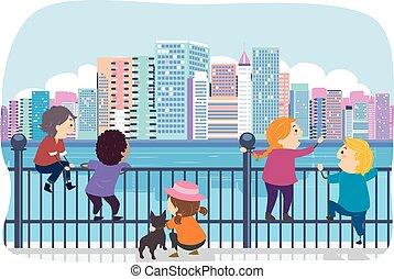 Stickman Kids Fence Cityscape