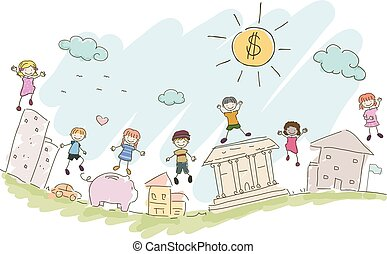Stickman Kids Financial Investments Illustration