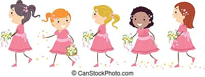 Stickman Kids Flower Girls