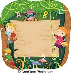 Stickman Kids Forest Board - Illustration of Kids Climbing a...