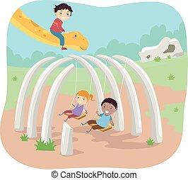 Stickman Kids Fossil Swing - Stickman Illustration of Kids...