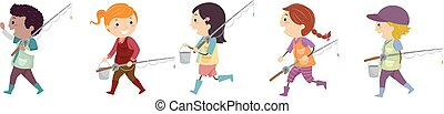 Stickman Kids Friends Lake Fishing Illustration