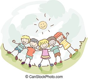 Stickman Kids Friendship - Stickman Illustration of a Group...