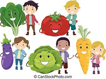 Stickman Kids Fruits Veggies Mascot Illustration