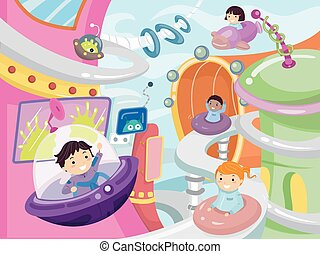 Stickman Kids Future City - Illustration of Kids Driving...