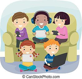 Stickman Kids Gadgets Couch Illustration