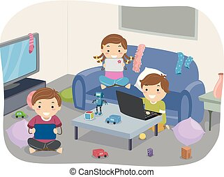 Stickman Kids Gadgets Messy Room Illustration