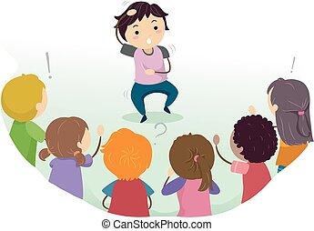 Stickman Kids Games Charades - Stickman Illustration of Kids...