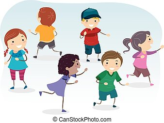 Stickman Illustration of Kids Playing Tag