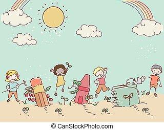 Stickman Kids Garden Book Color