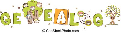 Stickman Kids Genealogy Lettering Illustration