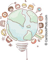 Stickman Kids Geography Light Bulb Illustration