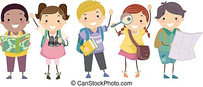 Stickman Kids Geography Students Illustration