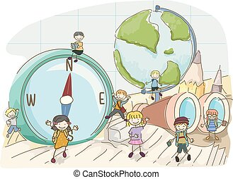 Stickman Kids Geography Tools Illustration