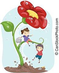 Stickman Kids Giant Flower Gardening