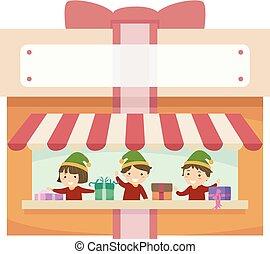 Stickman Kids Gift Store Illustration